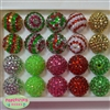 20mm Bubblegum Beads Rhinestone Christmas Mix