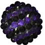 20mm Purple and Black Stripe Rhinestone Bubblegum Bead