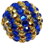 Royal Blue and Gold Stripe Rhinestone