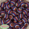 20mm Red Silver Blue Stripe Rhinestone Beads