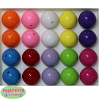 20mm Mix 3 Assorted Color Solid Beads 20pc