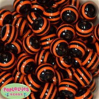 20mm Black and Orange Stripe Beads