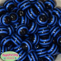 20mm Royal and Black Stripe Beads