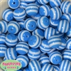 20mm Blue Stripe Beads