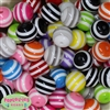 20mm Mixed Stripe Bubblegum Beads Bulk 100pc