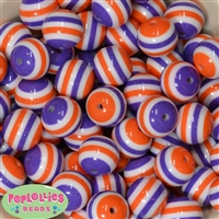 20mm Orange White Purple Stripe Beads