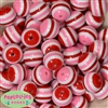 20mm Pink White and Red Stripe Beads