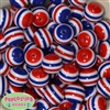 20mm Red, White and Blue Stripe Beads