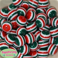 20mm Red White and Green Stripe Beads