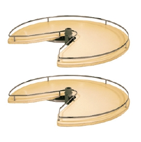 Swivel 3/4 Circle Carousel 2 Shelf - Maple/ Champagne
