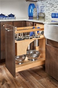 "Knife Block & Utensil Base Organizer Under Mount Soft Close Pull Out (25 1/2""H x 21 5/8"" D) - Maple"