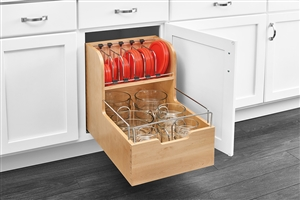 Base Under Mount Soft Close Wood Storage Container Pull Out