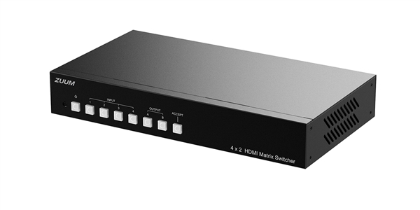HDMI 4 in 2 out Matrix Switcher for UHD displays up to 4Kx2K@60Hz UHD HDR 4:4:4