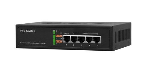 10/100Mbps 4 Port & 1 Uplink PoE Switch