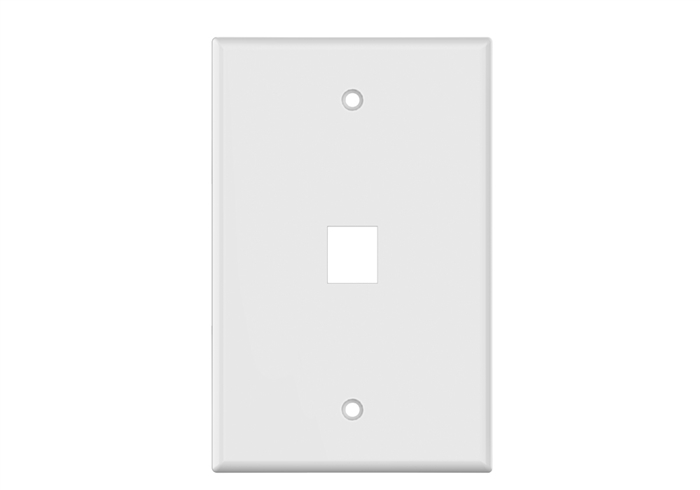 White Keystone MIDSIZE 1 Hole Wall Plate