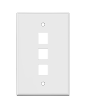White Keystone MIDSIZE 3 Hole Wall Plate