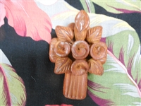 3 3/4 inch rustic clay cross from Mexico. Flowers may be different from the picture as each artist makes his own.