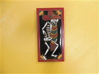 A beautiful tile Day of the Dead Dancing Senor. Red Border and teal accents, yellow highlights, on a black background. Start your collection.
