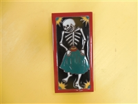 A beautiful tile Day of the Dead Dancing Senorita. Red Border and teal accents, yellow highlights, on a black background. Start your collection.