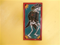 A beautiful tile Day of the Dead Dancing Groom. Red Border and teal accents, yellow highlights, on a black background. Start your collection.