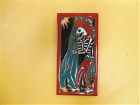 A beautiful tile Day of the Dead Mariachi Base/Harp Player. Red Border and teal accents, yellow highlights, on a black background. Start your collection.