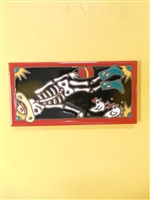 A beautiful tile Day of the Dead Muerto Chicken Farmer. Red Border and teal accents, yellow highlights, on a black background. Start your collection.