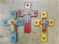 12 inches long. Wood cross aged with grind marks and a smaller accent wood cross topped by shiny tin cross and a dangle heart.