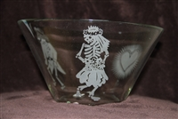 Glass Salad bowl etched with Day of the Dead Bride and Groom and Sacred Heart