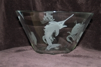 11 x 6 Glass Bowl etched with a Octopus, Sailfish, Seahorse, and Hammerhead Shark