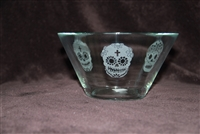 A small glass candy dish etched with 3 Sugar skulls by Debbie Fuentes