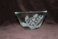 6 x 4 inch glass candy dish etched with a Sea Turtle