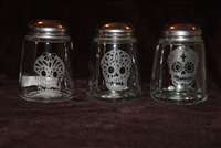 Set of three glass shakers etched in sugar Skulls