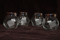 Set of four spice jars etched with a Happy New Sombrero Calavera