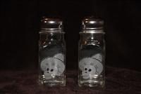 4 inch Old Diner shaped glass salt and pepper with skeletons