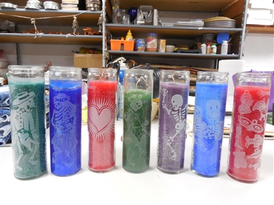 8 inch tall Alter candles filled with colorful wax and etched with skeletons, sacred Heart Guadalupe or Milagros
