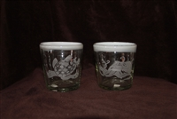 3 1/2 x 4 inch white rim bubble glasses with a sea turtle, sail fish, octopus, hammerhead shark and seahorse