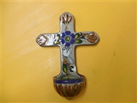 Blue and Brown Ken Edwards style holy water cross decorated with a white bird and a wax candle poured in the fount