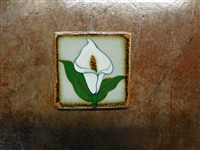 White Calla Lily Flower on both sides of a tile box candle. Assorted colors of wax. No scent