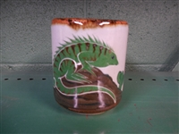 Adventurous Green Iguana painted on traditional Mexican  Pottery coffee mug