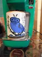 Gorgeous Blue Owl painted on traditional Mexican  Pottery coffee mug