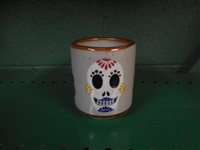 Adventurous Sugar Skull painted on traditional Mexican  Pottery coffee mug