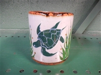 Graceful Green Sea turtle painted on traditional Mexican  Pottery coffee mug