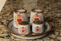 Espiritu Sacred Heart on Mexican Ceramic. Two shot glasses, two salts, one plate.