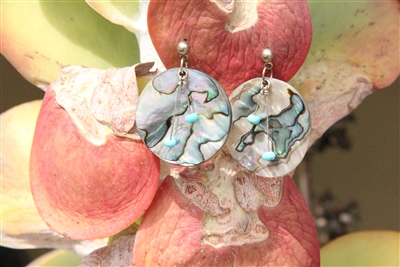 Abalone and turquoise earrings from New Mexico.