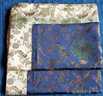 Altar / Puja Table Cover, Silk Brocade, Blue Golden Lotus & Gold Blossoms