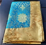Altar / Puja Table Cover, Silk Brocade, Turquoise Lotus Flowers & Gold Blossoms
