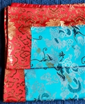 Altar / Puja Table Cover, Silk Brocade, Turquoise Dragons & Red Golden Lotuses