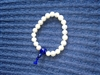 Wrist Mala, Fresh Water Pearls with Lapis Center Stone