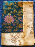 Altar / Puja Table Cover, Silk Brocade,  Turquoise Golden Lotuses & Gold Dragons