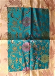 Altar Cloth only, Turquoise Golden Lotuses and Gold Dragons